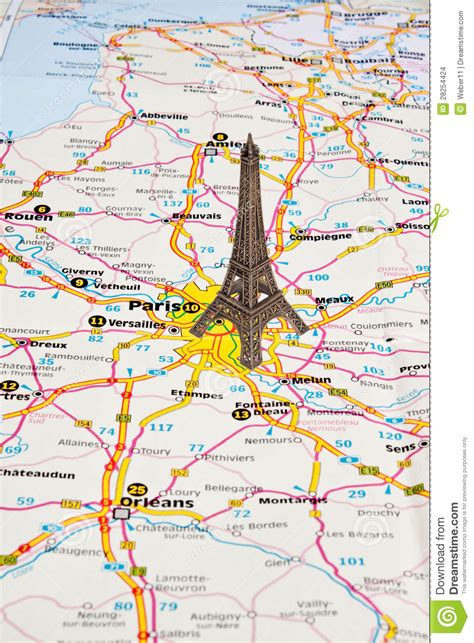 Map A4 Bunga Eiffel 10 eiffel tower in on map stock photo image of