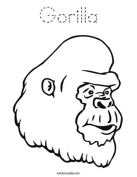 gorilla outline coloring page gorilla coloring page tracing twisty noodle