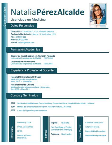 Plantilla De Curriculum Vitae Medico Formato Curriculum Vitae Vitae