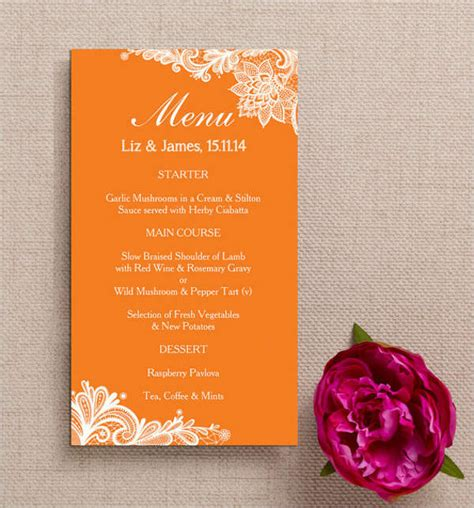 fall menu template 43 wedding menu sles free premium templates