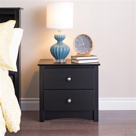 Black Nightstand With Drawers Prepac Black Sonoma 2 Drawer Nightstand The Home Depot Canada