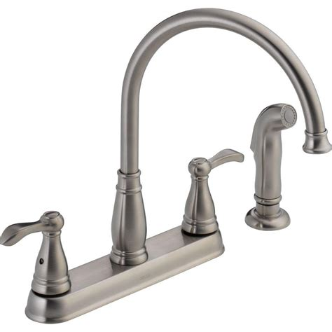 delta kitchen faucet with sprayer delta porter 2 handle side sprayer kitchen faucet in