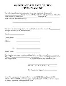 Waiver Of Lien Template by Best Photos Of Waiver Of Property Template Liability