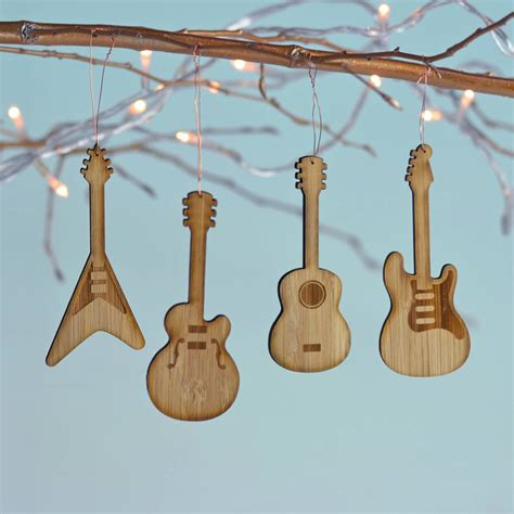 guitar christmas decorations bamboo set of four guitar decorations by oakdene designs notonthehighstreet