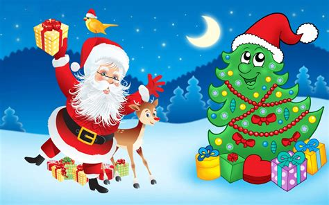 santa claus christmas tree decorations gifts cartoon christmas wallpapers hd