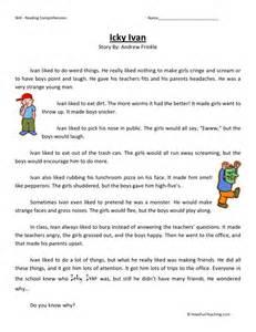 reading comprehension worksheet icky ivan