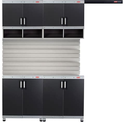 Laminate Garage Cabinets by Rubbermaid Fasttrack Garage Laminate Cabinet Set With Wall