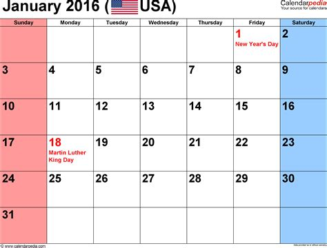 printable monthly calendar january 2016 january 2016 calendars for word excel pdf