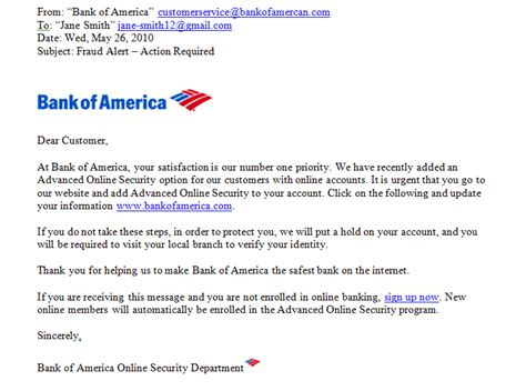 Bank Account Verification Letter Bank Of America Safety Avoiding Spam And Phishing Page 1