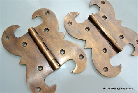 How To Restore Brass Door Hardware by 2 Large Hinge Vintage Aged Style Solid Brass Doors Box