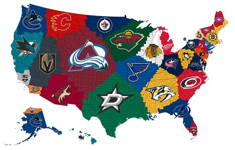 nhl map map of the closest nhl teams to each us county 3450x2208 oc mapporn