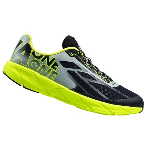 racing shoes running the hoka tracer in black and citrus for at