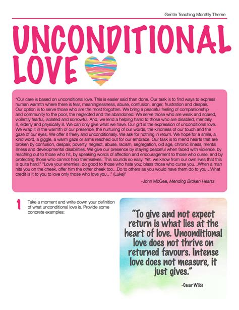 themes about unconditional love gentle teaching theme for january 2015 unconditional love