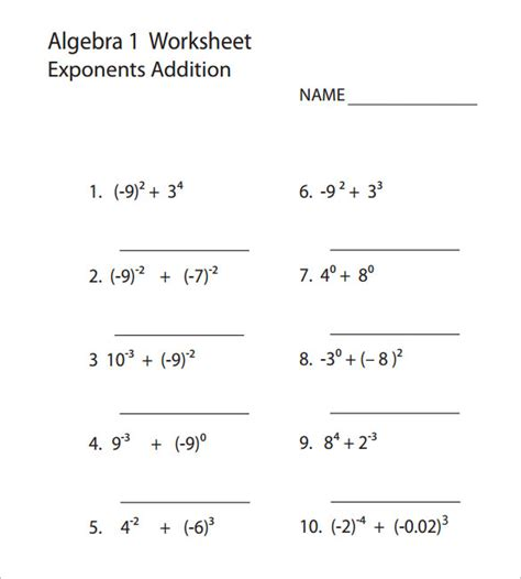 Free Printable Pre Algebra Worksheets With Answers by 10 College Algebra Worksheet Templates Free Word Pdf