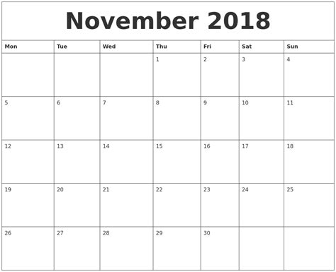 Calendar Nov 2018 November 2018 Calendar Pdf 2018 Calendar With Holidays