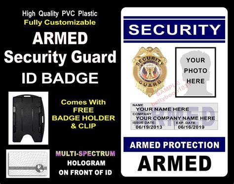 Guardian Security Tips Security Protection Security Guard Id Badge Quot Armed Quot Custom W Your Photo Info