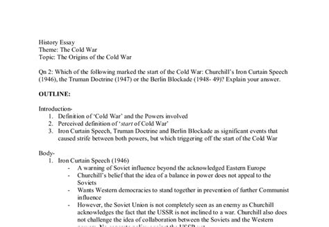 Cold War Essay Topics by Essay Topic On The Cold War