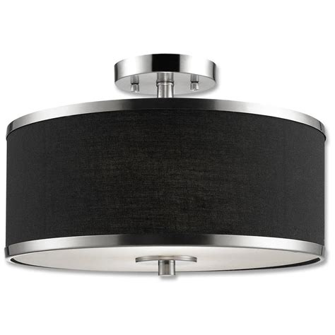 black flush mount light beldi medford collection 2 light satin nickel semi flush