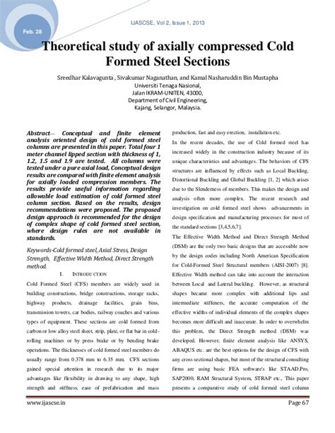 cold form steel sections theoretical study of axially compressed cold formed steel