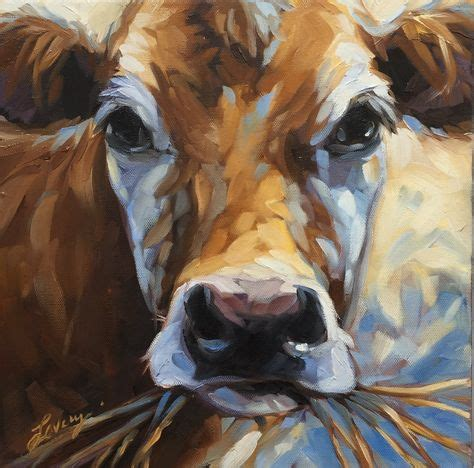 scow paintings cow painting original impressionistic oil painting of a