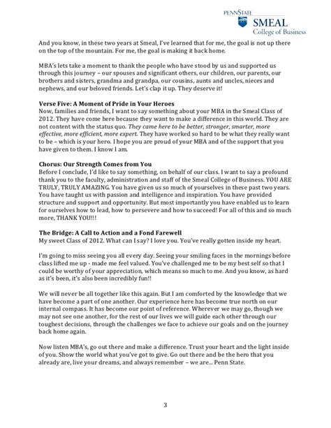 Mba Text To Speec by Ezra Nanes Smeal Mba Graduation Student Keynote Speech