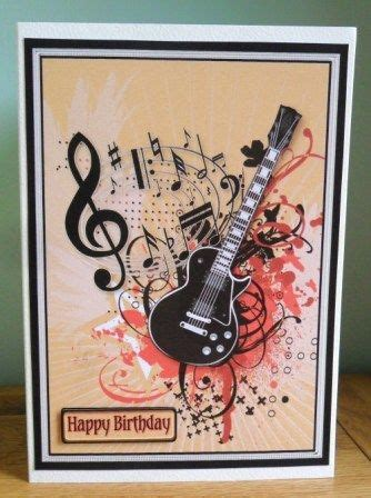 printable birthday cards with guitars personalised handmade guitar music notes choice 2 design