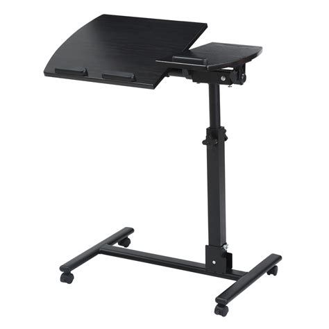 Laptop Overbed Table Adjustable Rolling Portable Mobile Adjustable Mobile Rolling Laptop Desk