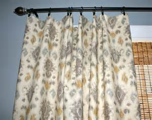 grey blue yellow ivory ikat curtain panels by stitchandbrush