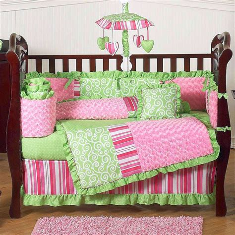 infant girl bedding bright green and pink cute baby girl bedding ideas