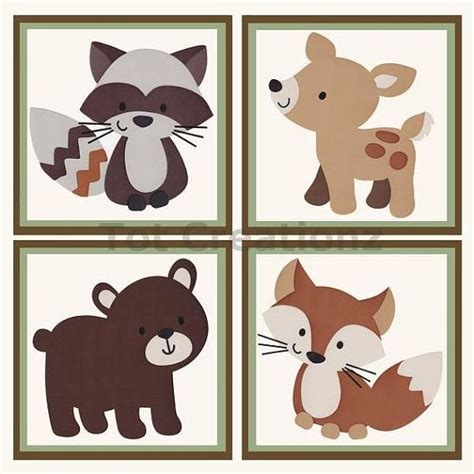 Forest Friends Baby Crib Bedding By Carters Possible Wall Plaques Set Of 4 8x8 S Http Www Etsy