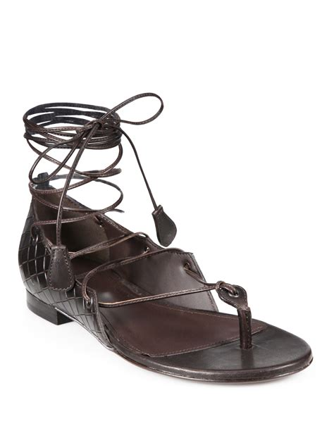 gladiator sandals lace up bottega veneta lace up leather gladiator sandals in brown
