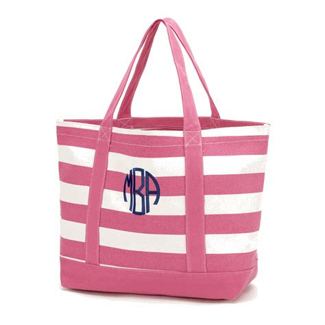 personalized striped beach tote monogrammed