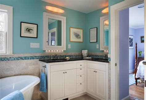 Small Powder Room Vanity - master suite remodel traditional bathroom boston by mahoney architects