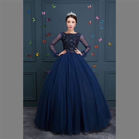 L Dress Princes 100 navy blue beading dress renaissance