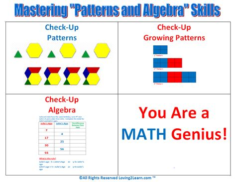 pattern and algebra games printable patterns and algebra skills chart