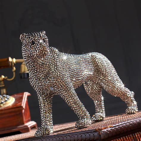 statue for home decoration creative handmade diamond encrusted modern ceramic leopard