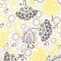 Yellow And Gray Bathroom Rug - white riley blake flower fabric from the usa yellow grey