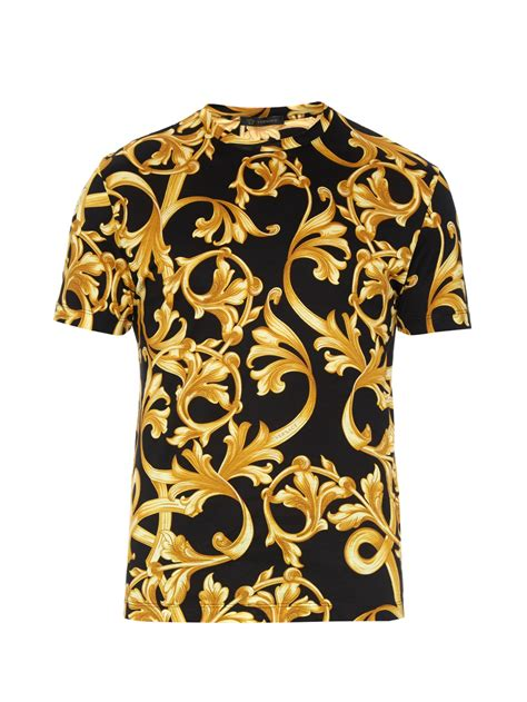 versace pattern t shirt versace baroque print cotton jersey t shirt in black for
