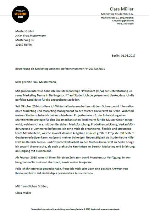 Bewerbungsschreiben Promotionjob vorlage eines gelungenen bewerbungsschreibens studentjob de
