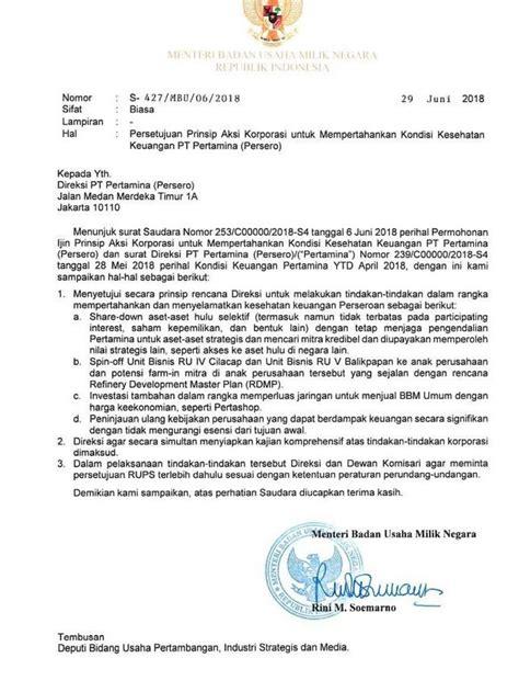 Jual Nes V Balikpapan beredar surat menteri rini izikan pertamina jual aset