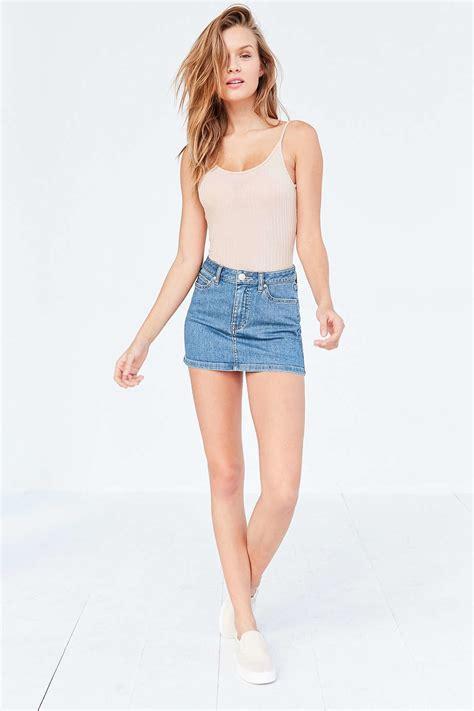bdg colette denim micro mini skirt in blue lyst