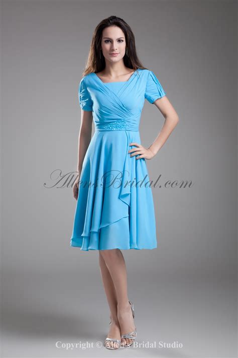 allens bridal chiffon square knee length short sleeves a