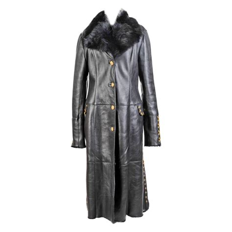 New Bersus Black new versace versus black shearling fur leather coat for