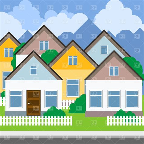 free houses suburb street and houses royalty free vector clip art image 1752 rfclipart