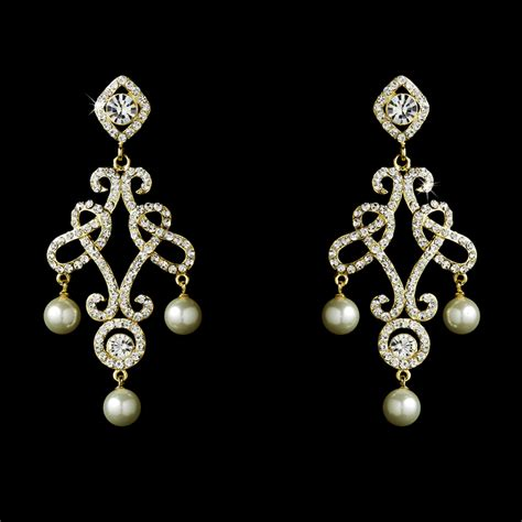 Bridal Chandelier Earrings With Pearls Majestic Austrian Pearl Chandelier Earrings Bridal Hair Accessories