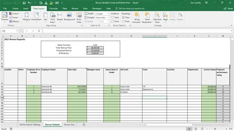 Variable Compensation Plan Template Compensation Spreadsheet Template