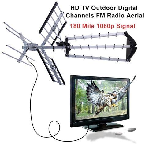Antena Tv Uhf Digital 180 mile hdtv 1080p outdoor lified hd tv antenna digital uhf vhf fm radio ba ebay