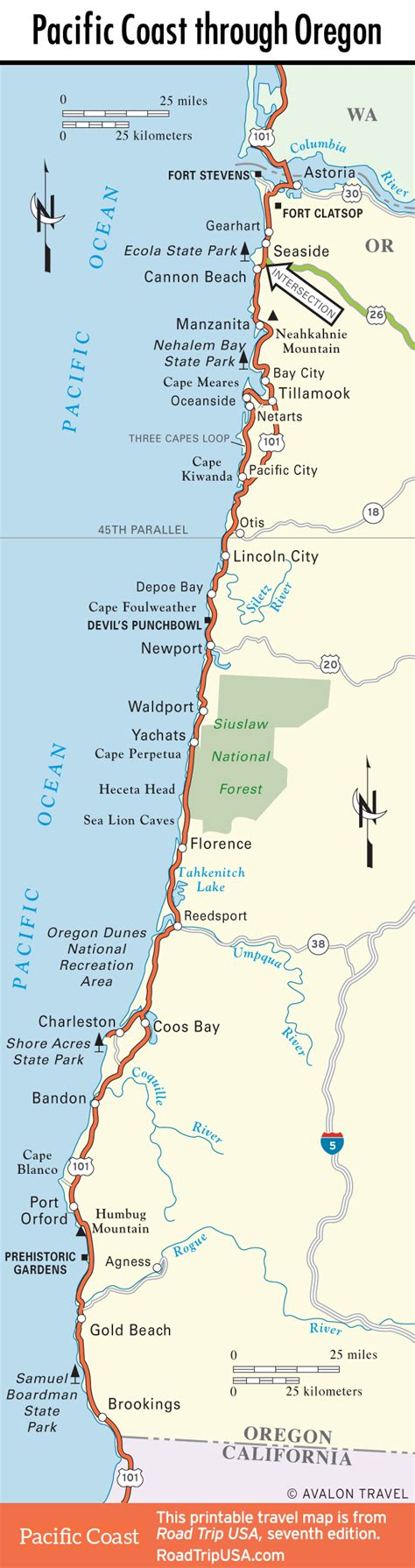 map of oregon and california coast pacific coast route oregon road trip usa