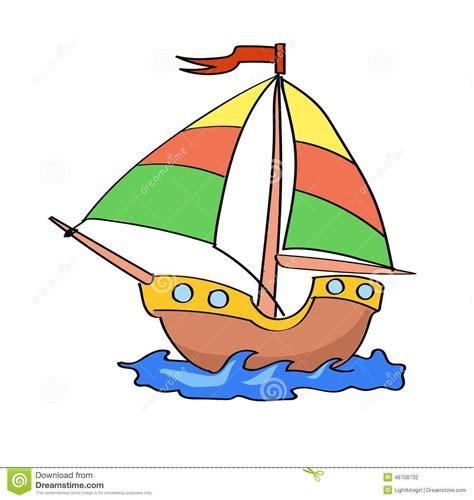 barco navegando animado desenhos animados do barco coloridos em um fundo branco