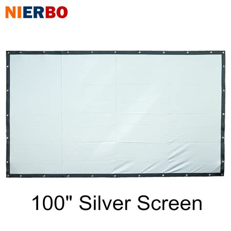 nierbo    inches projection screen silver foldable